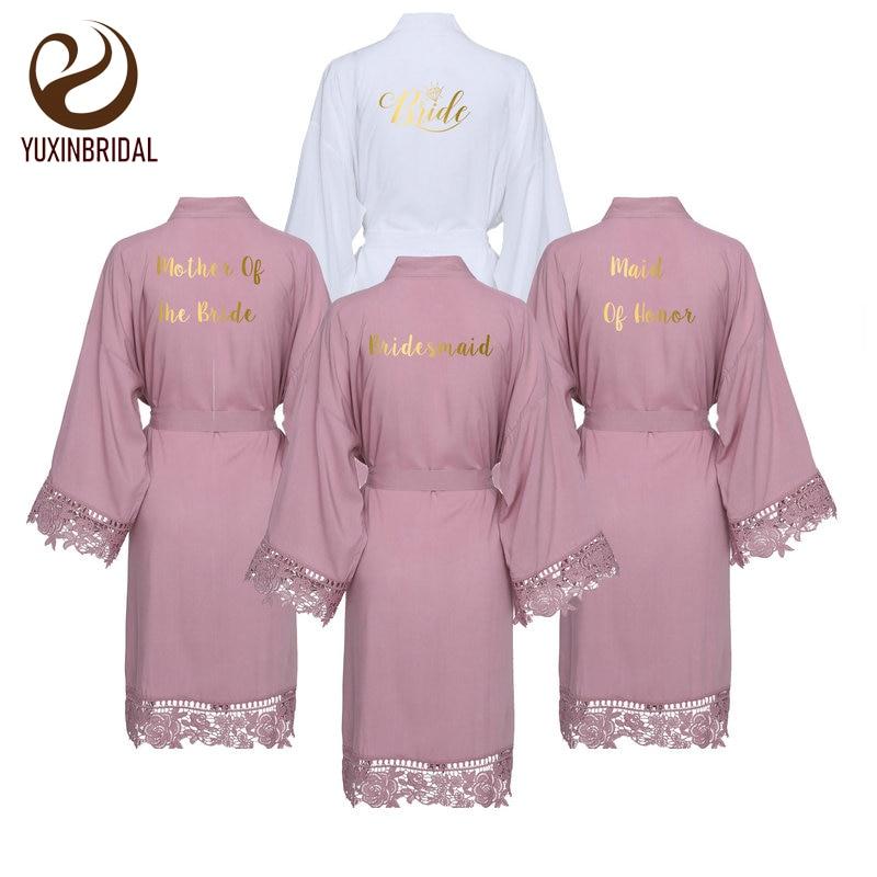 lace robe New Mauve Solid Cotton Kimono Robes with Lace Trim Women Wedding Bridal Robe Bathrobe Sleepwear White purple tease v neck floral lace trim robe with thong