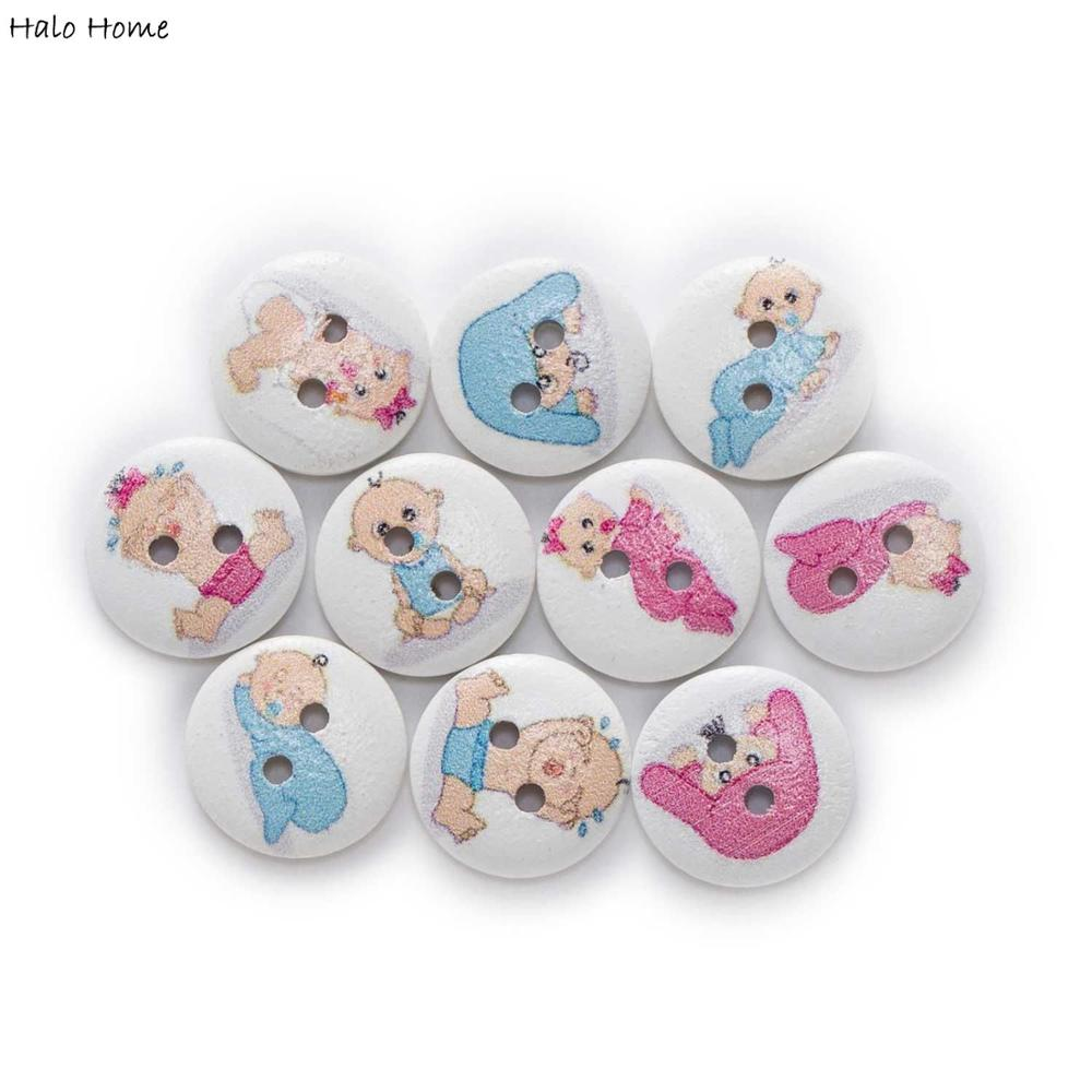 50pcs Baby Theme Round Wooden Buttons Sewing Scrapbook Clothing Gifts Crafts Handwork Accessories Ja