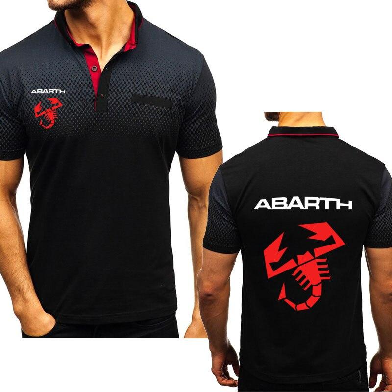 Novedad de verano, Polo para hombre, camiseta para automóvil Abarth, Impresión de Logo, manga corta, Harajuku, camiseta Polo informal de algodón para hombre