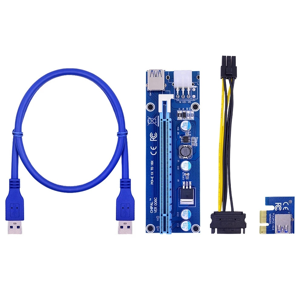 PCI-E Graphics Card Cable VER008C Riser Card Express USB 3.0 Adapter Cable PCI-E 1X To 16X Extension Cable Compatible BTC Mining