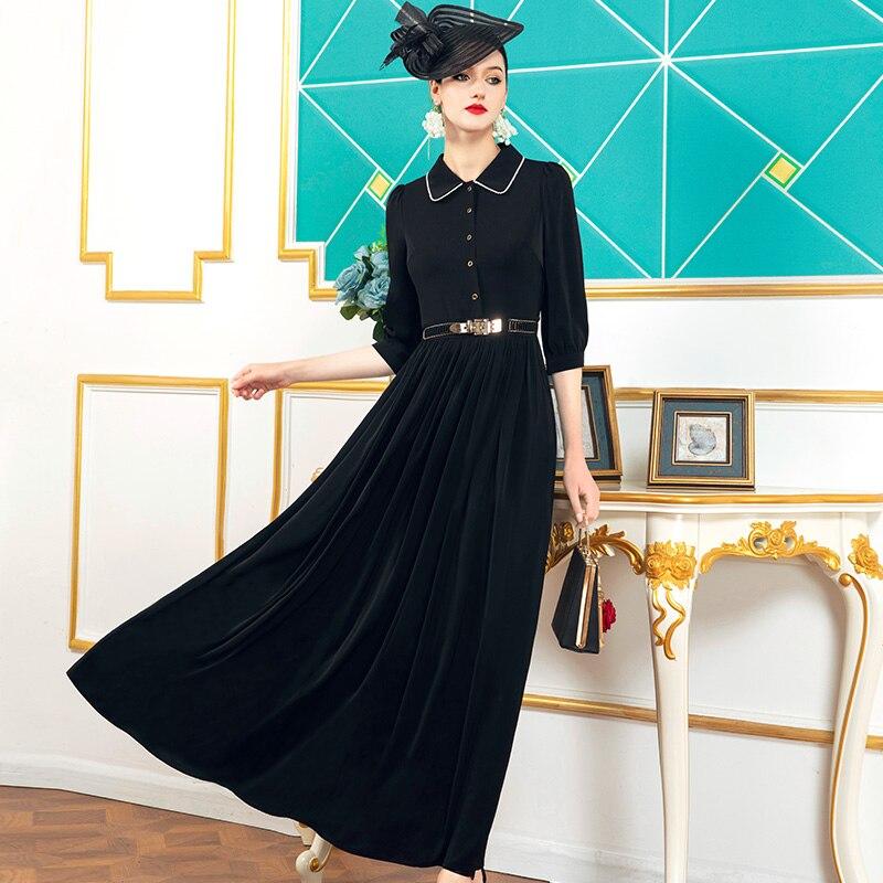 2021 الشيفون ربيع الخريف فستان طويل مكتب سيدة نساء فستان أسود 2/3 كم موضة ملابس سهرة فستان الكاحل طول