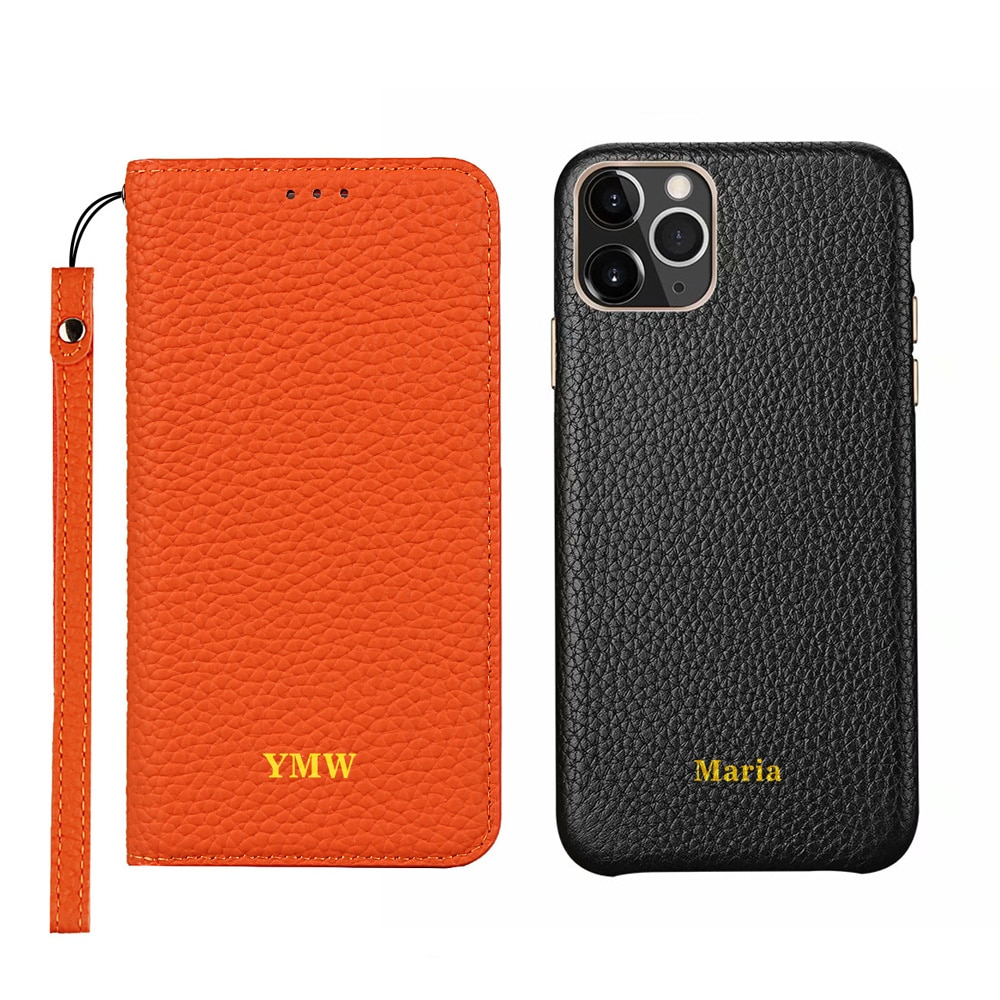 Genuine leather phone case name customization service