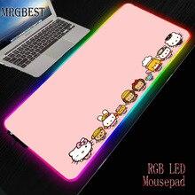 MRGBEST مرحبا كيتي الوردي دائم المطاط الكمبيوتر المحمول مكافحة زلة ماوس الوسادة RGB الملونة LED الإضاءة لعبة لاعب قفل حافة بساط للمكتب L