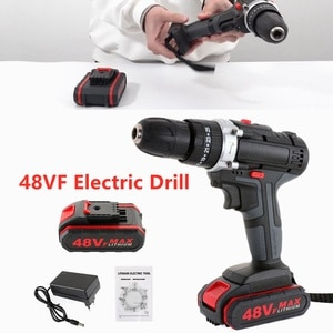 48VF Cordless Impact Drill with 2Battery Double Speed Electric Wrench Hammer Drill Power Screwdriver Driver Drill Hand PowerTool