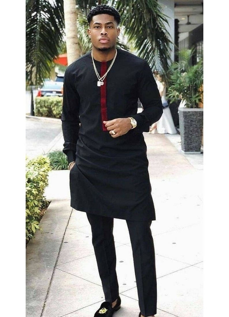 New Fashion Men African Outfits Patchwork Tops+Solid Black Trousers Custom Made Party Male Pant Sets