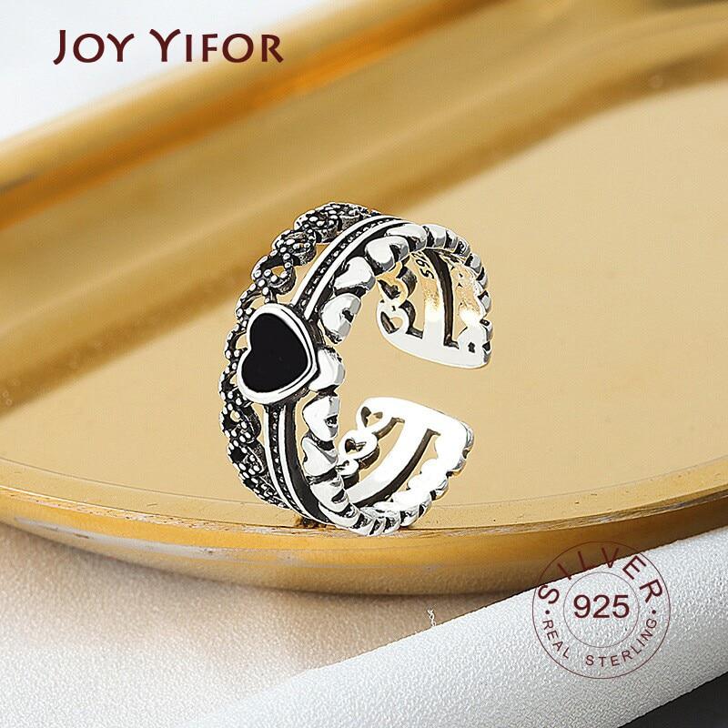 s925-Серебро-Кольца-для-женщин-в-форме-сердца-черный-Циркон-Корона-палец-открытое-регулируемое-кольцо-Мода-Винтаж-тонкой-jelwery