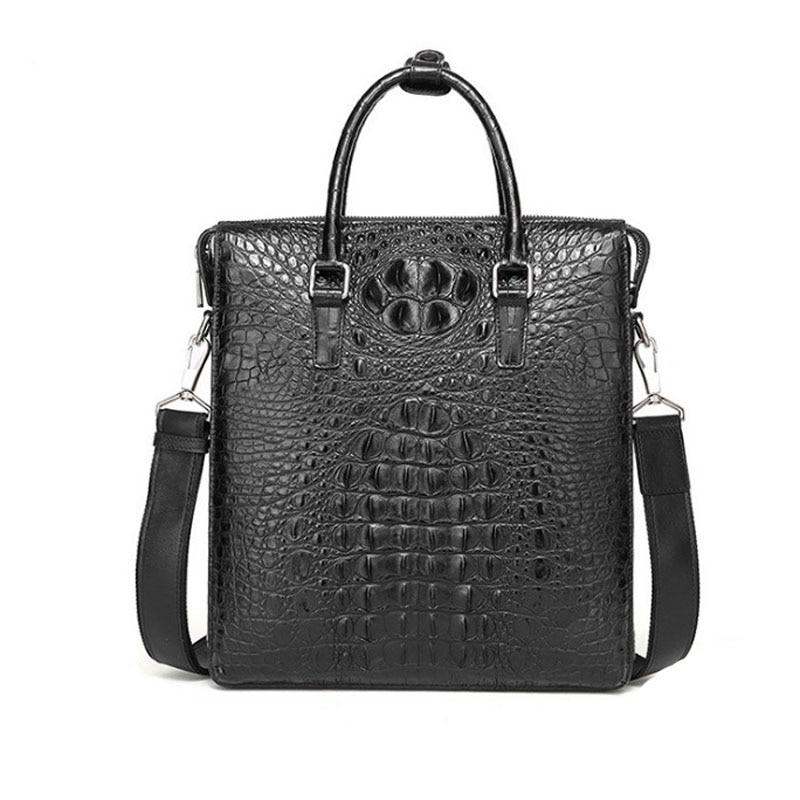 hongzhiyan Vertical brief case men's business style new crocodile leather crocodile men handbag shoulder bag