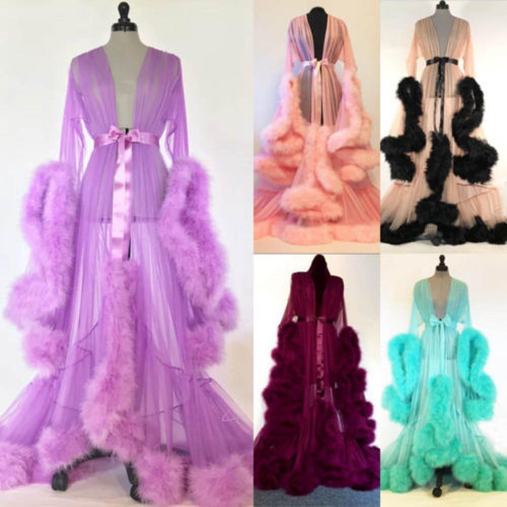 Sexy Women Lace Robe Kimono Night Maxi Dress Nightgowns Mesh Long Sleeve Fur Babydoll Party Sleepwea