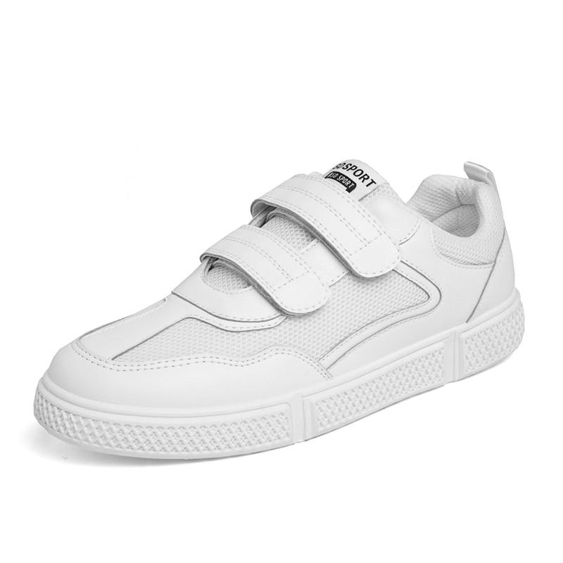 Alta Qualidade Velcro Homens Sapatos Casuais Venda Quente Primavera Outono Masculinos Respirável Moda Casual Brancos