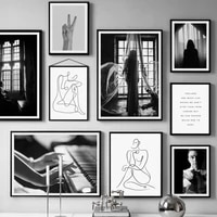 paris window piano woman hand line body wall art canvas painting nordic posters and prints wall pictures for living room decor