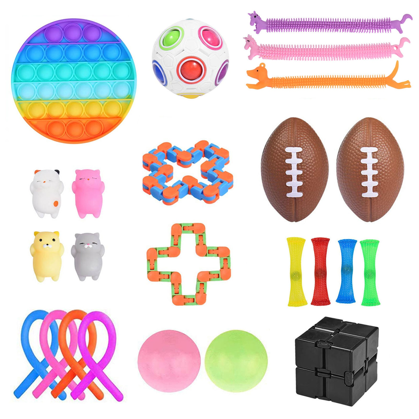 24PCS Sensory Fidget Toys Silicone Stress Relief Anti-Anxiety Toy Bubble Push Sensor Fidget Toy Educational Decompression Toys enlarge