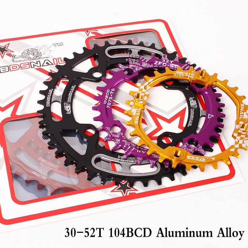 Caracol mtb 104bcd cárter 44-52t estreito largo bicicleta chainring liga de alumínio 30-36t 38-42t roda de corrente redonda acessórios da bicicleta