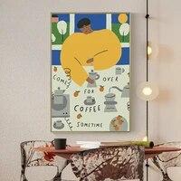 Affiche dart mural Vintage  mode nordique abstraite  chat plante feuilles  peinture sur toile  Style Boho  decor de maison
