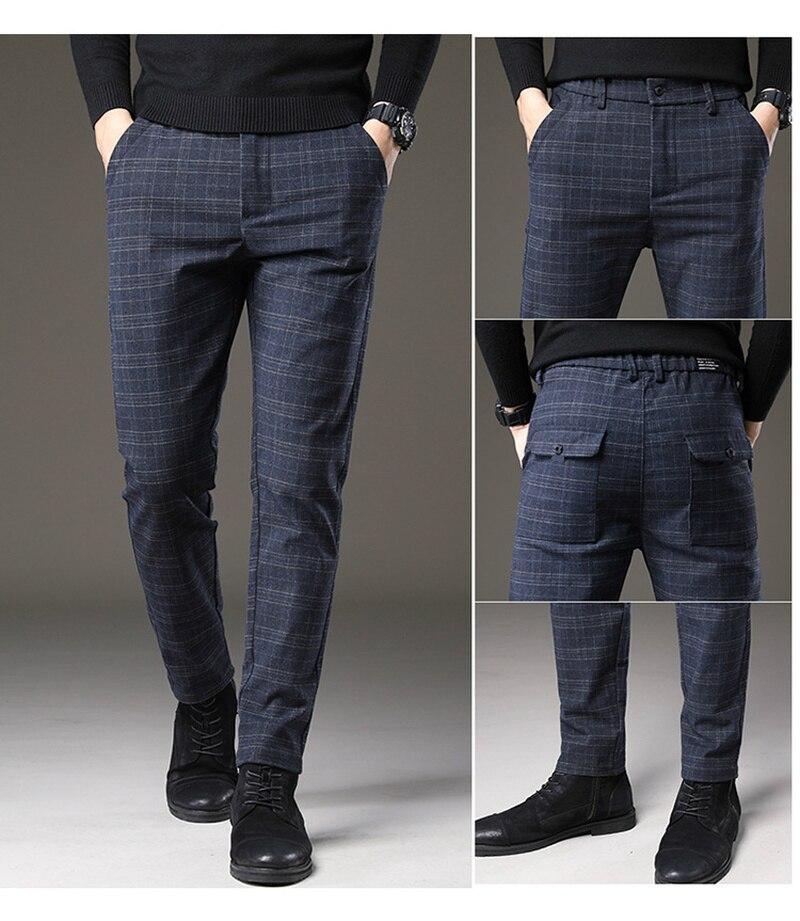 Men Dress Plaid Stretch fabrics Business Casual Slim Skinny Suit Pants Autumn man Vintage lattice Stretch homme Formal Trousers