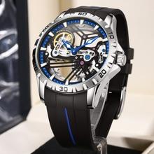 Quality Hollow Automatic Mechanical Watch Men Luxury Luminous Rubber Wrist Watches Clock Waterproof