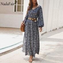 Nadafair Vintage robe florale Maxi été a-ligne taille haute lanterne manches printemps longue élégant rétro Boho robe femmes Vestidos