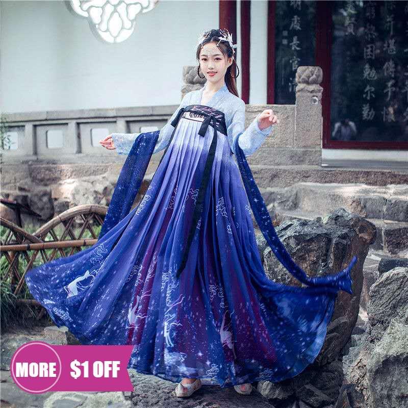 Сценический костюм ханьфу Blue Rave, улучшенная Китайская одежда для древней леди, китайская женская одежда ханьфу для выступлений, Женская ска...