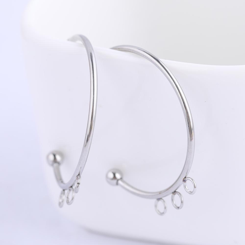 6 uds. De acero inoxidable 25mm conectores de pendientes de medio círculo pendientes de bricolaje postes de perno con bucles para la fabricación de joyas