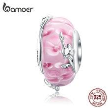 Bamoer perles de verre de Murano faites à la main pour la fabrication de bijoux en argent massif 925 breloque fleur dorchidée idéal pour bracelet bijoux SCC1281