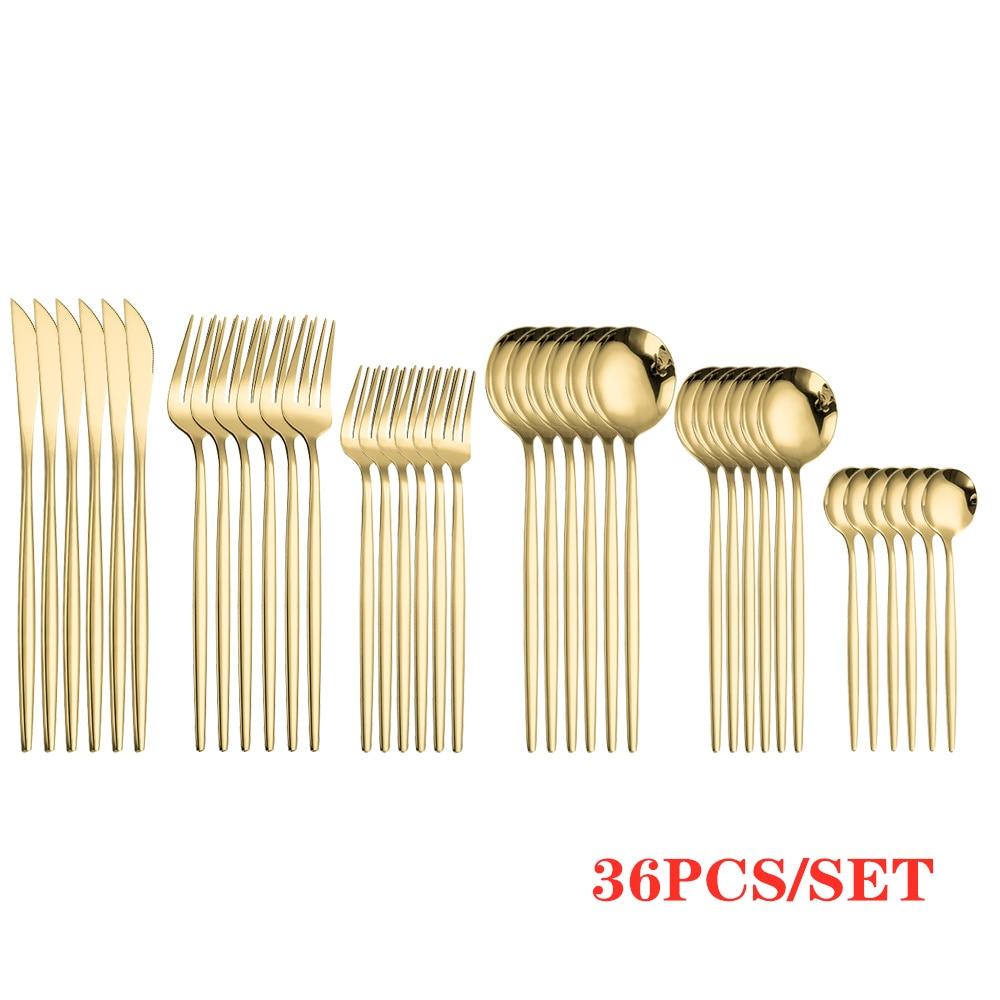 Gold Cutlery Sets Golden Spoons Forks Knives Cutlery SetStainless Steel Knife Fork Coffee Spoon Chopsticks Mirror Dinnerware Set