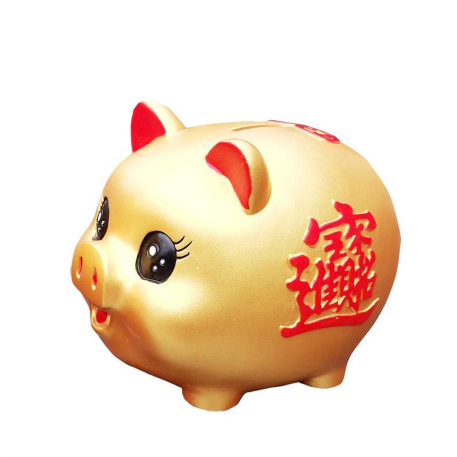 Hucha de cerdo de plástico de dibujos animados para niños, hucha de gran tamaño, hucha China hucha de oro HH50QG