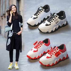 Spring Woman Chunky Platform Sneakers 2020 New Ulzzang Fashion Lace Up Trainers High Quality Tenis Female Old Dad Casual Shoes