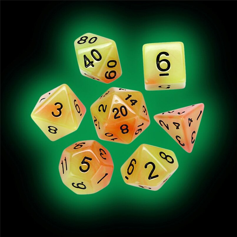 7Pcs luminous multi-faced dice set TRPG entertainment game party polyhedron D20 multi-faceted acrylic dice dados de rpg 30A20