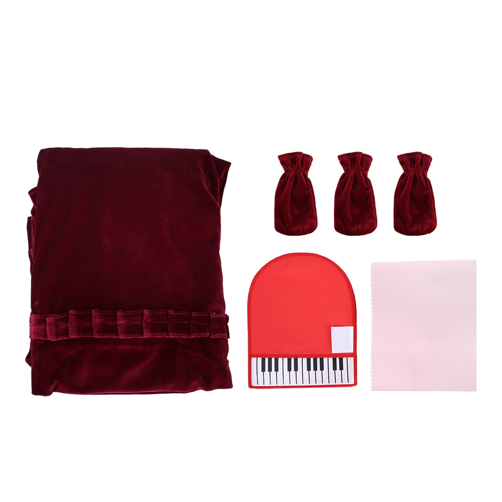 Upright Piano Keyboard Cover Colorfast Full Set Dust Proof Stereo Foot Set Three Red