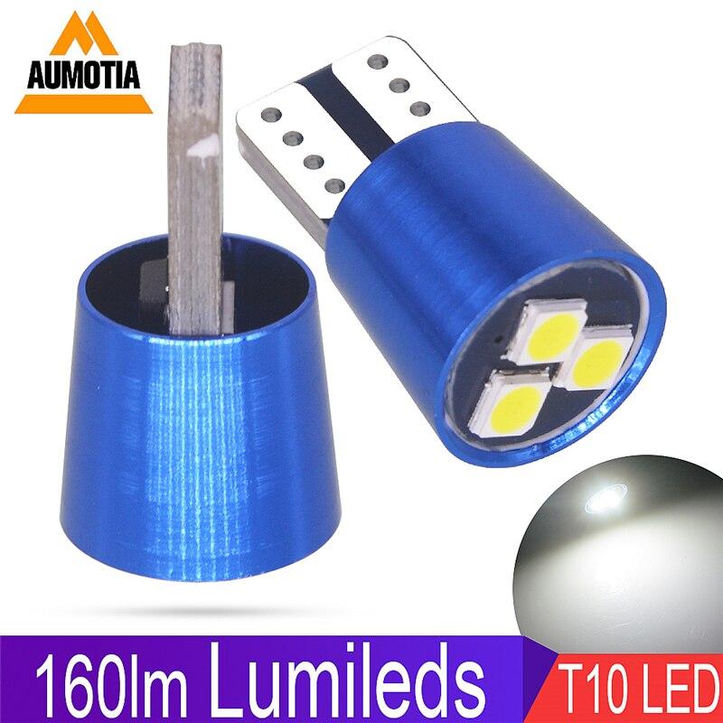 Luz LED T10 para coche W5W, 3 LEDs, 500 SMD, 160lm, luz indicadora de luz para matrícula de coche DC12V, 3030 unidades