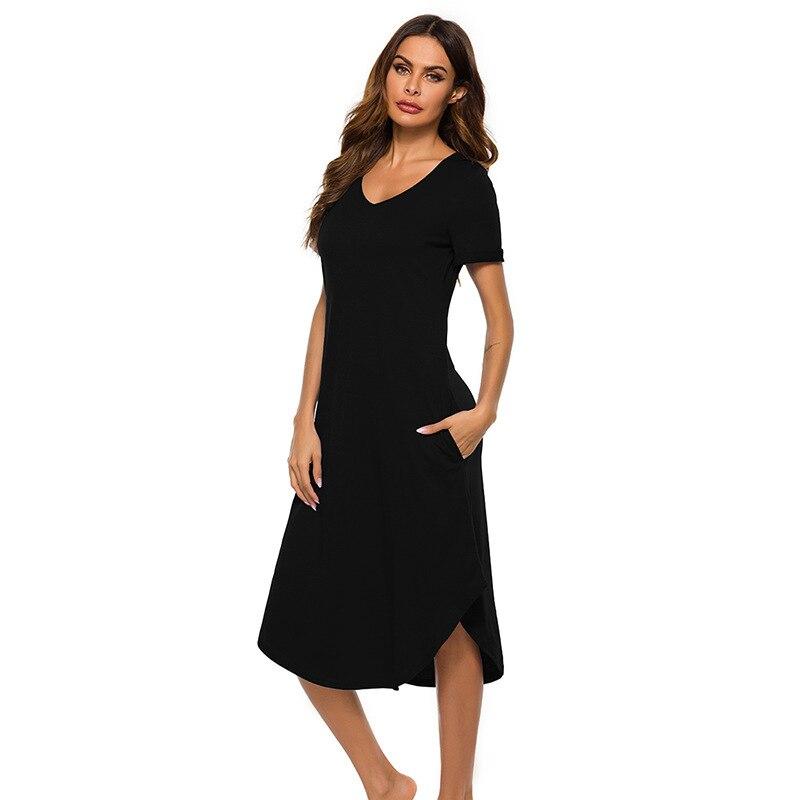 Spring and Summer Womens Nightdress Dovetail Comfortable Casual Loose Home Wear Sleepwear Women Nightwear Sleep Tops Nightgown