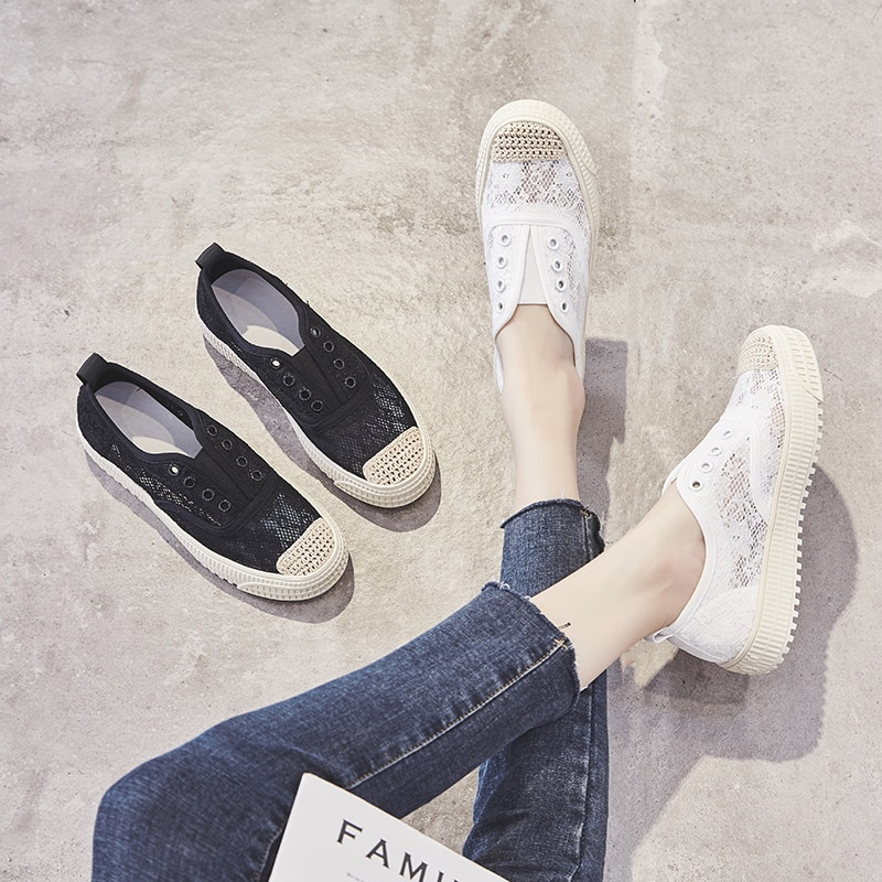 2021 Summer Shoes for Women Flat Shoes,White,black Shoes for Women,Casual,Comfort,Breathable,Lace,Ru
