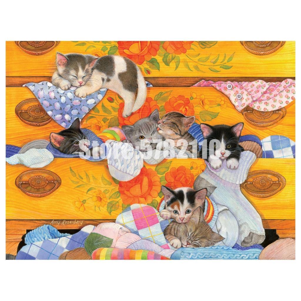 5D Diy pintura de diamantes cómoda tocador gatos arte bordado de diamantes cuadro completo bordado de diamantes de imitación mosaico papel pintado imagen