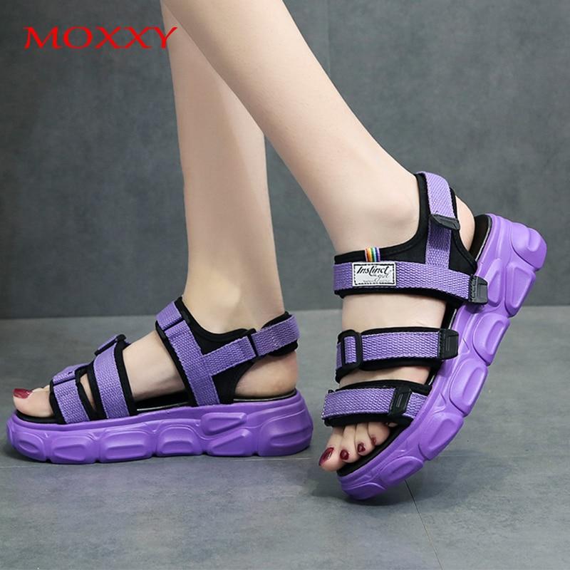 Morado plataforma sandalias con cuña para mujer zapatos de las señoras de verano amarillo negro Zapatos de deporte 2020 sandalias de lujo Color brillante Mujer Sandalias