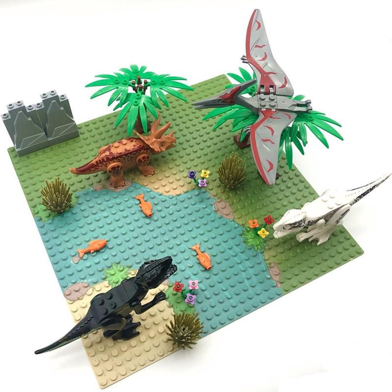 2020 новые динозавры, игрушки, кирпичи, пастбище, горная речка Строительная пластина для строительных блоков, Юрский Мир, парк, динозавр для де...
