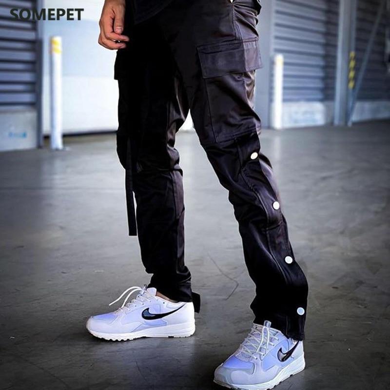 Pants Men Joggers Streetwear Kanye Hip Hop Harajuku Track Cargo Pants Side Striped Button Sweatpants