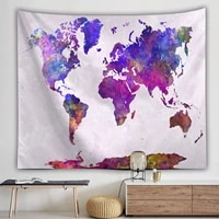 yaapeet polyester map pattern wall tapestry colorful retro compass printed hanging tapestry fashion pretty jacquard wall decor