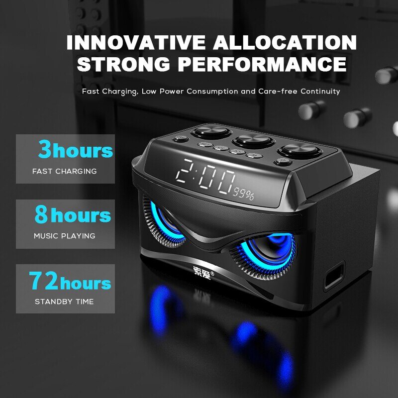SOAIY S68 Mini LED Speakers 25W Portable Wireless Bluetooth Speaker Smart Bass Outdoor with 3 Drivers Support FM TF Fast Ship enlarge