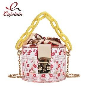 Transparent Box Red Lip Print Design Chain Women's Party Clutch Bag Purses and Handbags Crossbody Bag Scarf Totes Shoulder Bag