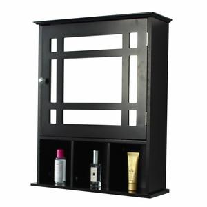 【US Warehouse】Single Door Three Compartment Storage Bathroom Cabinet - Grey-brown   Drop Shipping USA