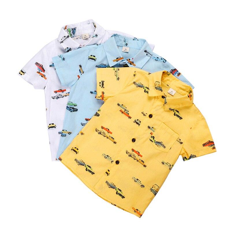 Boys Shirts Casual Cartoon Car Print Short Sleeve Shirts for Boy Kids Clothing 2 3 4 5 6 7 8 Years Toddler Baby Clothes Tees New
