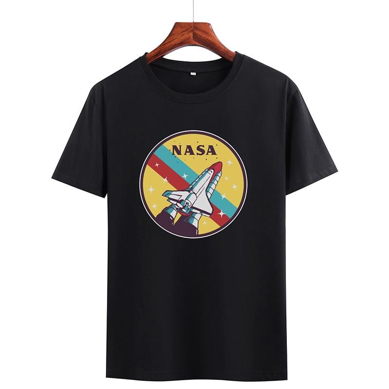 Camiseta holgada informal de verano con estampado de nave espacial, cuello redondo para hombre, a la moda para parejas, fiestas de viaje, calle personalizada