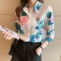 korean women silk shirts blouse woman satin print shirt women long sleeve blouse tops plus size woman silk floral shirt top xxl