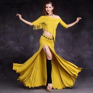 Women Dance Wear Off-shoulder Top Side Slit Skirt Belly Dance Practice Costume Set Girls 2Pcs Set Tassel Top Split Skirts Suit