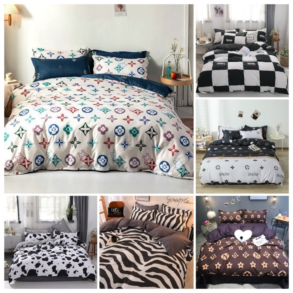 2/3 Pcs Luxurious Brand Duvet Cover Set Black and White Bedding Sets Twin/queen/king Size Black and White Grid Comforter Set