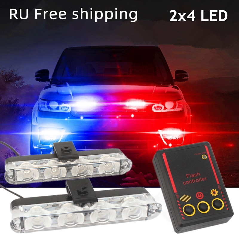 universal 12v wireless remote strobe control module for led stoplight drl flash controller flasher system car motorcycle diy 2x4 Led Strobe Warning Police Light Automobiles 12V Car Truck Flashing Firemen Ambulance Emergency Flasher DRL Day Running Light