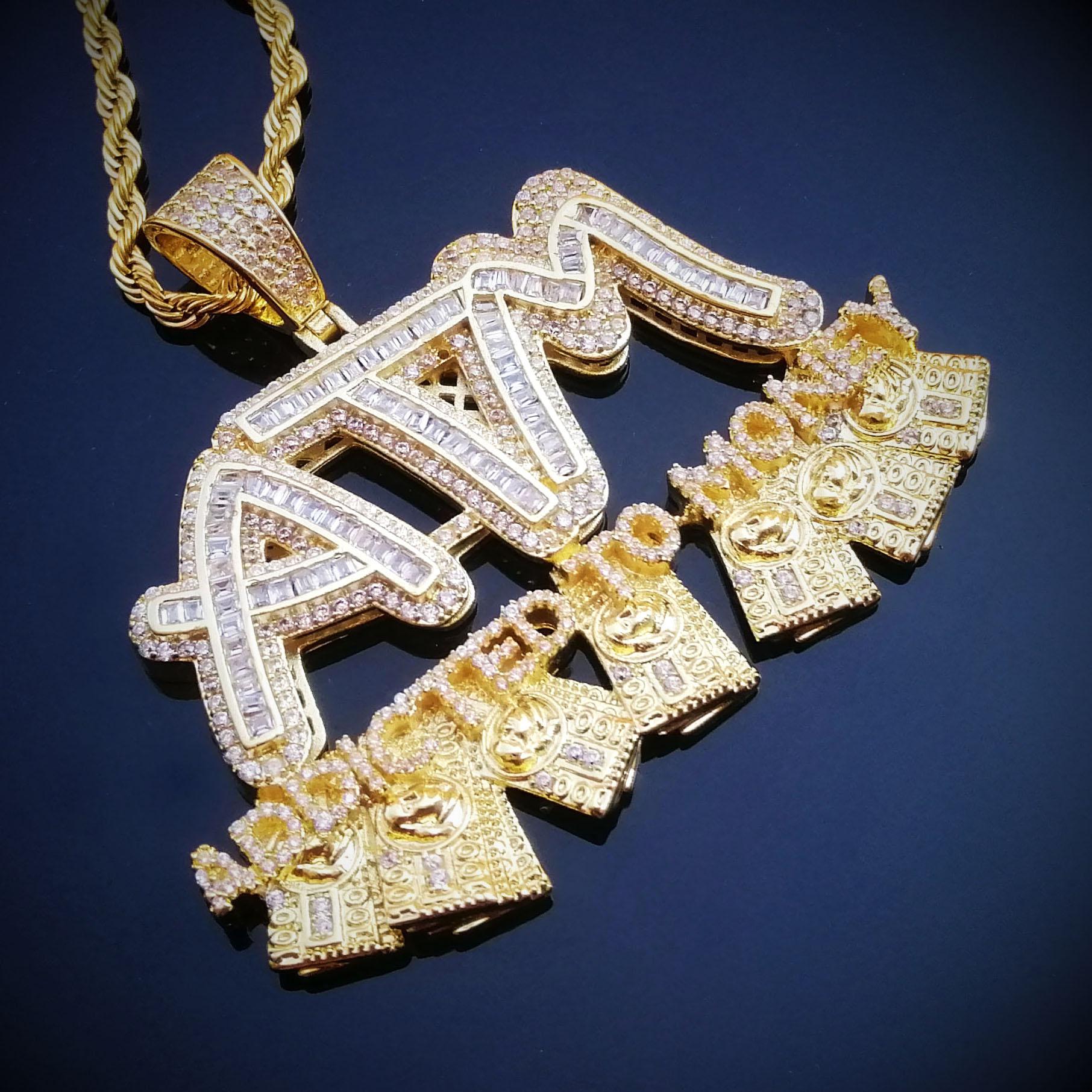 Collares con letras Iced Out ATM adicto a la pendiente de dinero, 2 colores AAA Zircon hip hop para hombres, regalos de joyería