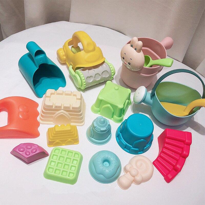 17 pçs macio pp crianças verão praia brinquedos conjunto atv pá de praia ao ar livre combinação jogar água areia brinquedo crianças presente aniversário