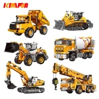 500pcs engineering bulldozer crane working cement mixer truck car building block city construction toy
