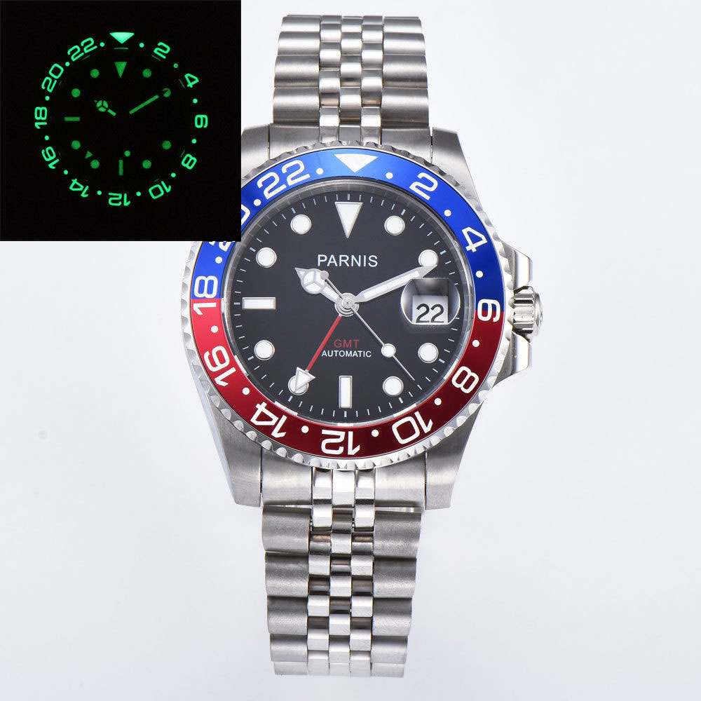 40mm PARNIS Jubileo pulsera luminosa bisel negro dial zafiro cristal GMT mecánico automático reloj para hombre