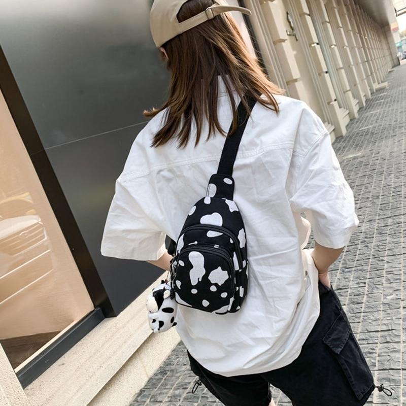 Women Cute Cow Print Purse Canvas Cell Phone Bag Sling Bag Crossbody Bag